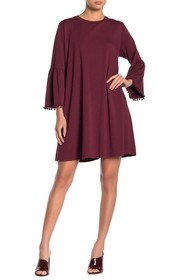 Johnny Was Bell Sleeve Pompom Trim Shift Dress