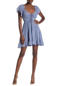 BAILEY BLUE Stripe Babydoll Cinch Neck Dress