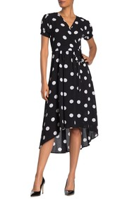 TASH + SOPHIE Faux Wrap Polka Dot Dress