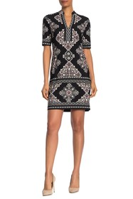TASH + SOPHIE V-Neck Geo Printed Shirt Dress