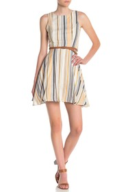 BAILEY BLUE Striped Braided Belt Dress