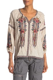 Johnny Was Aaliah Embroidered Peasant Top