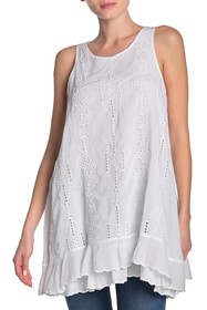Johnny Was Eve Tiered Ruffle Eyelet Tank Top