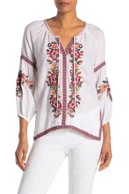 Johnny Was Juliene Embroidered Peasant Top