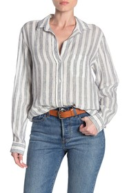 GRAYSON The Hero Tumbled Stripe Print Linen Shirt