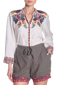Johnny Was Quinn Embroidered Button Front Top