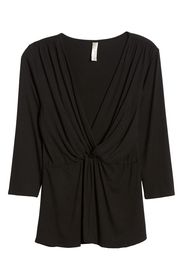 Loveappella Drape Front Twist Top