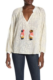 Johnny Was Rosanna Embroidered Tassel Top