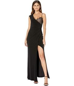 BCBGMAXAZRIA One Shoulder Lace Detail Gown with Sl