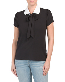 KIM & CAMI Made In Usa Tie Collar Front Top