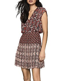 REISS - Marcella Mixed-Print Pleated Dress