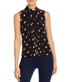 Tory Burch - Printed-Silk Tie-Neck Top