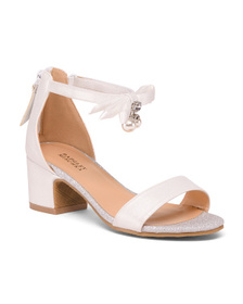 BADGLEY MISCHKA Pearl Bow Dress Sandals (Little Ki