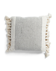 ENCHANTE 20x20 Textured Stripe Pillow With Mini Ta