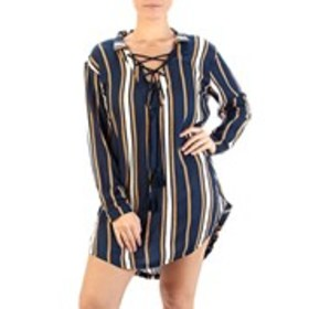 ROXY Juniors Striped Tasseled Lace Up Cover Up