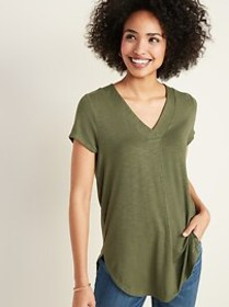 Luxe V-Neck Tunic Tee for Women