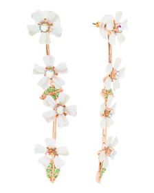 BETSEY JOHNSON Rose Gold Tone Floral Linear Earrin