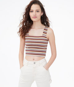 Aeropostale Striped Square-Neck Crop Top