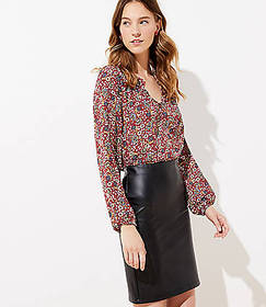 Petite Faux Leather Pull On Pencil Skirt