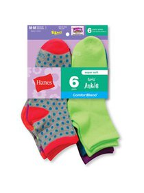 Hanes Girls Socks, 6 Pack Ankle Fashion (Big Girls