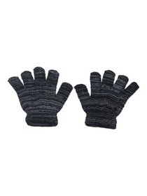 Girls Black Grey Two Tone Mixed Color Winter Glove