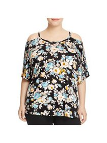 Alison Andrews Womens Plus Floral Print Cold Shoul