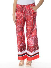 RALPH LAUREN Womens Red Printed Wide Leg Pants Pet