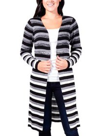NY Collection Womens Petites Striped Open Front Ca