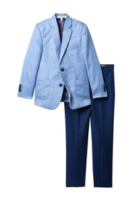 Isaac Mizrahi 3-Piece Contrast Plaid Suit Set (Tod