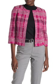 St. John Collection Plaid Tweed Cropped Jacket
