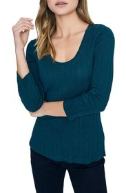 Sanctuary Ruby Ribbed Long Sleeve Cotton Blend T-S