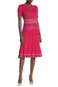 St. John Collection Knit Pleated Fit & Flare Dress