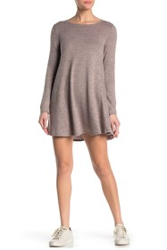 BAILEY BLUE Long Sleeve Lace-Up Brushed Hacci Dres