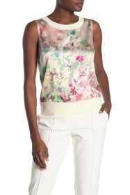St. John Collection Floral Print Knit Sleeveless S