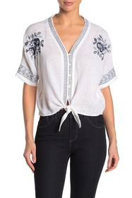 Rails Thea Embroidery Linen Blend Top