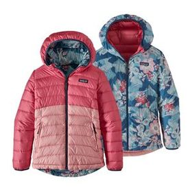 Girls' Reversible Down Sweater Hoody, Range Pink (
