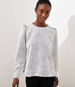 Petite Dotted Puff Shoulder Blouse