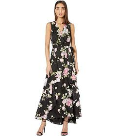 Tahari by ASL Printed Clipped Chiffon Floral Gown