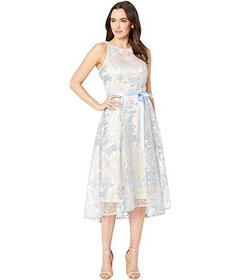 Tahari by ASL Sleeveless Embroidered High-Low Dres