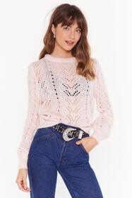 Nasty Gal Pink You've Got a Pointelle Relaxed Swea