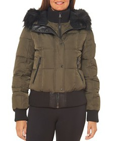 VINCE CAMUTO - Faux Shearling-Lined Hood Bomber Co