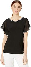 Calvin Klein Chiffon Top with Piping