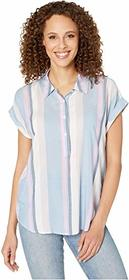 Vince Camuto Short Sleeve Sunset Stripe Collared H