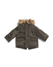 Reveal Designer Infant Boys Faux Fur Hooded Parka