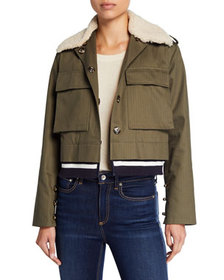 Harvey Faircloth Cropped Military Jacket with Faux