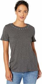 Vince Camuto Short Sleeve Studded Crew Neck Tee