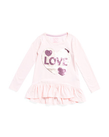 ISAAC MIZRAHI Girls Flip Sequin Heart Ruffle Top