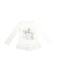 ISAAC MIZRAHI Girls Glitter Unicorn Lace Hem Top