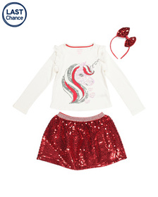 ISAAC MIZRAHI Girls 2pc Sequin Unicorn Skirt Set W