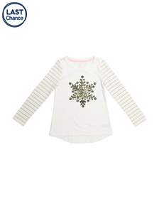 ISAAC MIZRAHI Girls Sequin Snowflake Striped Sleev